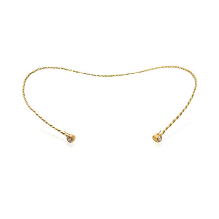 Diamond Accent 18k Yellow Gold Infinity Twist Contour Neck Collar