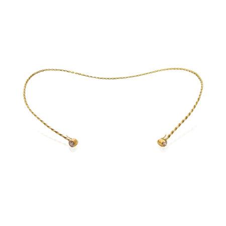 Diamond Accent 18k Yellow Gold Infinity Twist Contour Neck Collar