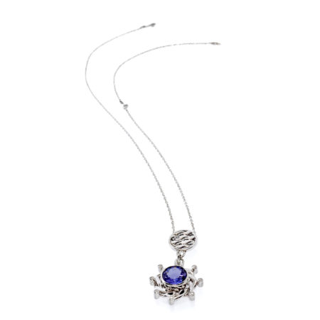 18k White Gold Diamond Tanzanite Eclipse Drop Textured Disc Combo pendant Necklace