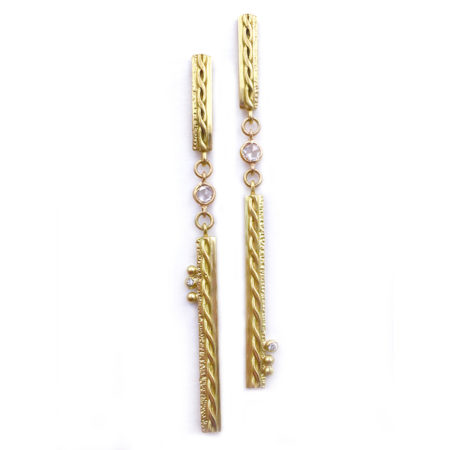Rose Cut Diamond Granule 18k Contour Bar Dangle Post Earrings