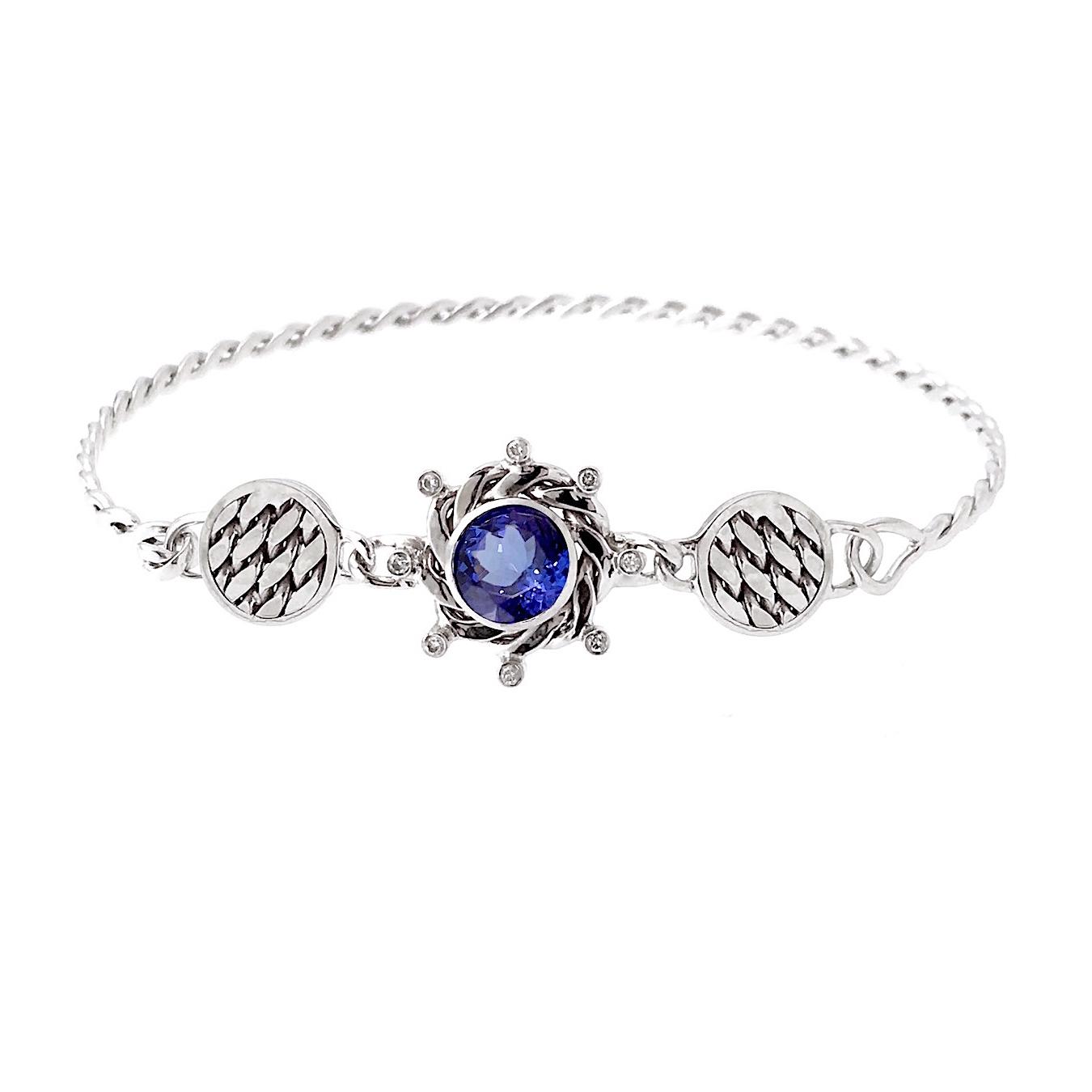 18k-White-Gold-Infinity-Twist-Diamond-Tanzanite-Double-Textured-Disc-Bangle-bracelet-Jewelyrie-Eclipse