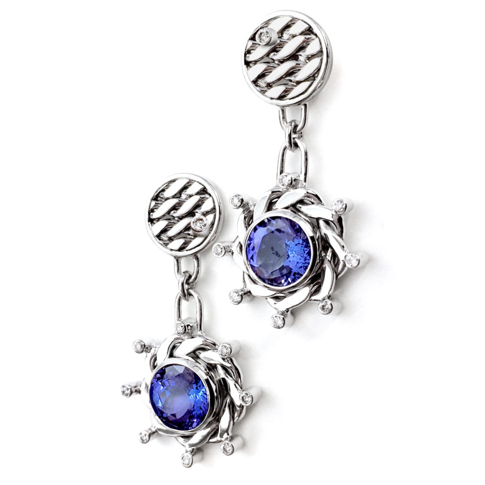 18k White Gold Diamond Tanzanite Rimmed Texture Disc Post Earrings