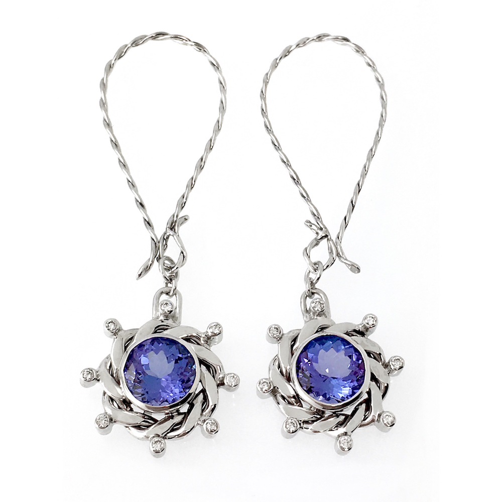 Elongated 18k White Gold Eclipse Drop Diamond Tanzanite Earrings