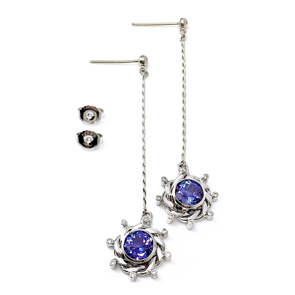 18k White Gold Halo Diamond Tanzanite Pendulum Post Dangle Earrings