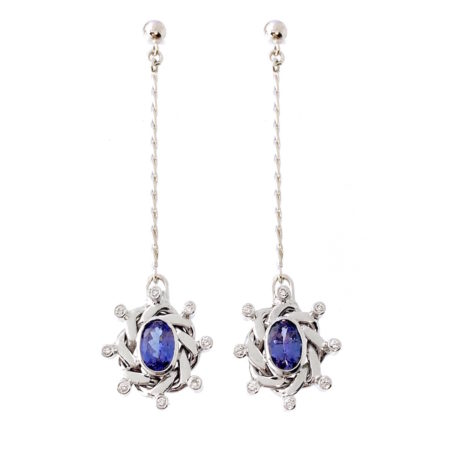 18k White Gold Diamond Oval Tanzanite Pendulum Dangle Earrings