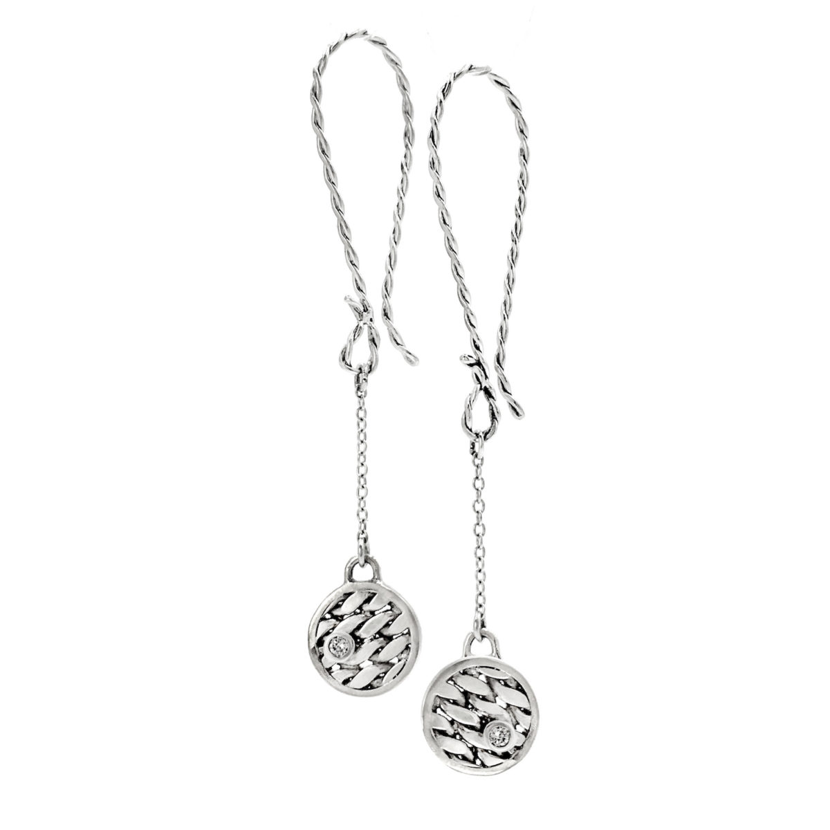 18k white Gold Texture Disc Diamond Elongated Dangle Earrings