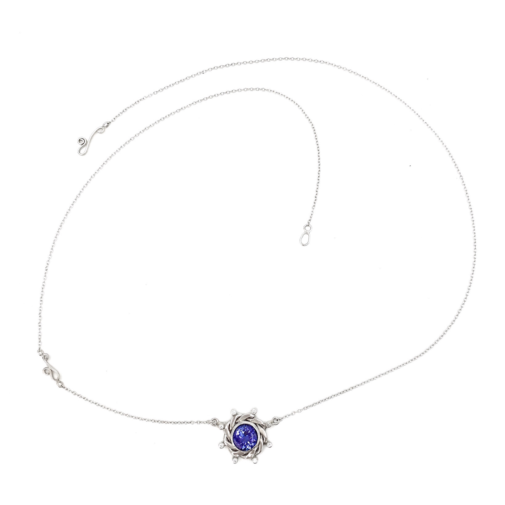 18k White Gold Eclipse Drop Diamond Tanzanite Pendant Necklace