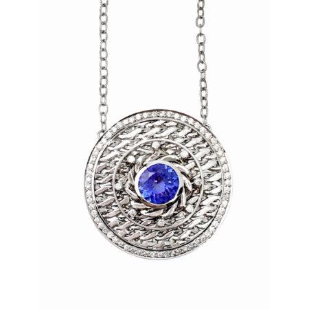 18k White Gold Diamond Rimmed Tanzanite Eclipse Medallion Pendant Necklace
