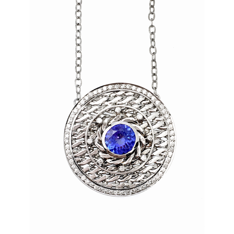 18k White Gold Diamond Rimmed Tanzanite Eclipse Medallion Pendant Necklace