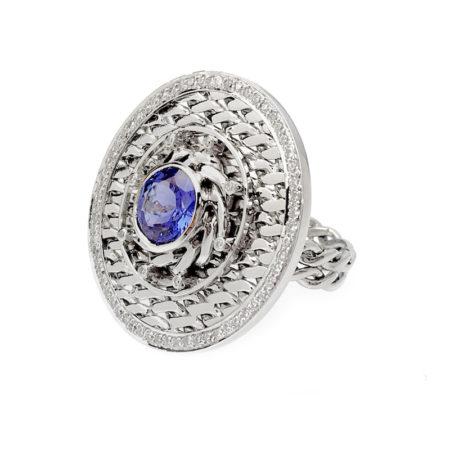 18k White Gold Diamond Rimmed Tanzanite Eclipse Medallion Cocktail Ring
