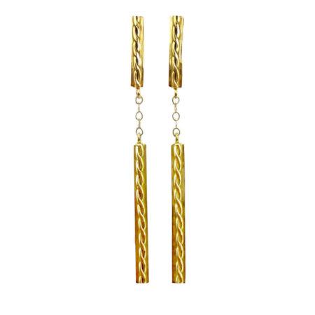 18k Yellow Gold Infinity Twist Contour Bar Dangle Post earrings