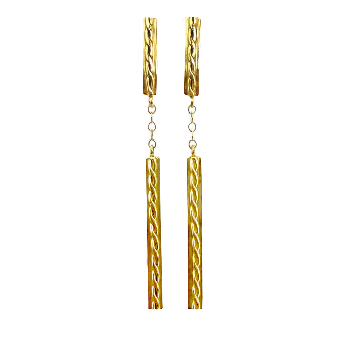18k Yellow Gold Infinity Twist Contour Bar Dangle Post earrings