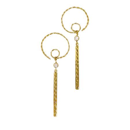 Diamond Accent 18k Infinity Twist Spiral Hoop Dangle bar Earrings
