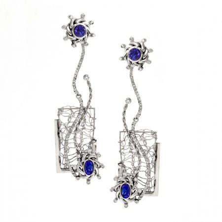 Framed 18k White Gold Diamond Tanzanite Open Textured Ear Jackets