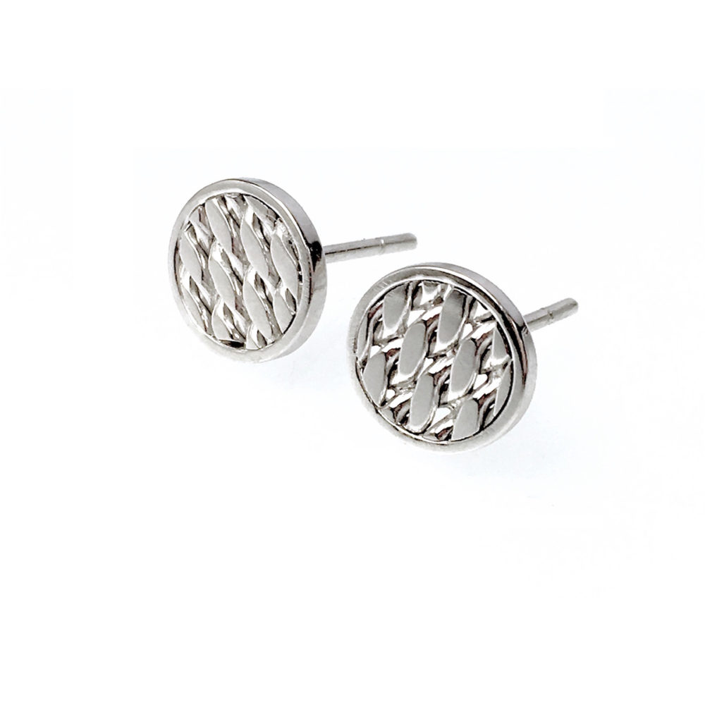 18k white Gold Rimmed Texture Disc Stud Earrings