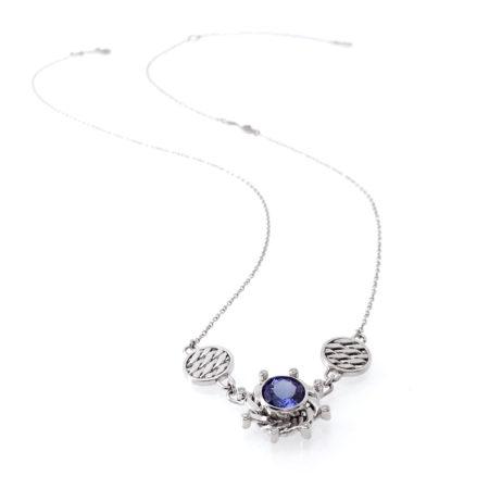 18k White Gold Diamond Tanzanite Texture Disc Composition Pendant Necklace
