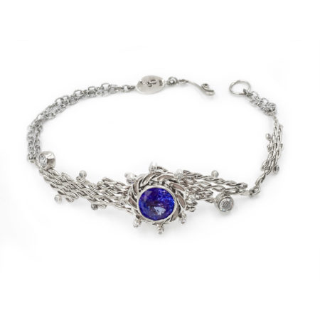 18k White Gold Asymmetrical Diamond Tanzanite Diagonal Textured Bracelet