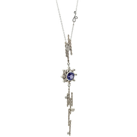 18k Gold Diamond Tanzanite Infinity Twist Vertical Staggered Pendant Necklace