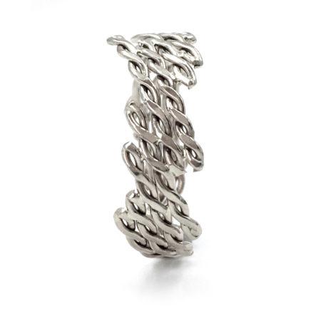18k White Gold Diagonal Infinity Twist Free Form Band Ring