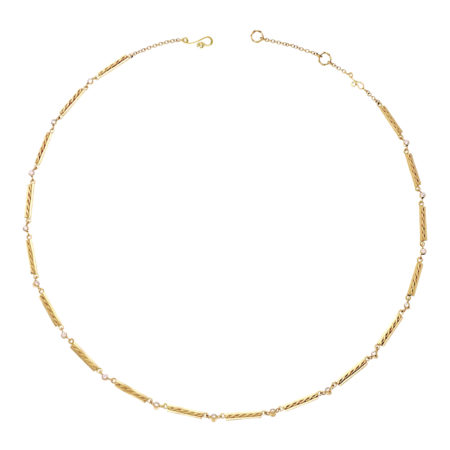 18k Gold Diamond Accent Infinity Twist Bar Link Line Necklace