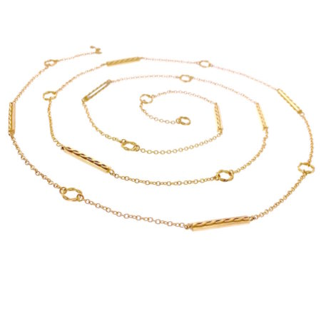 18k Yellow Gold Bar Ringlet Station Multi Way Y Necklace