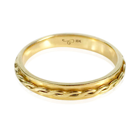 3mm 18k Yellow Gold Infinity Twist Stackable Ring band by Jewelyrie