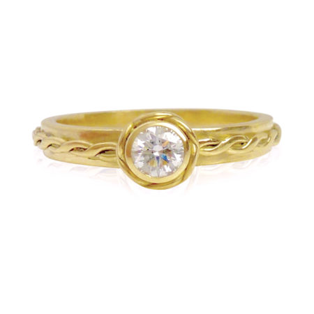 18k Yellow Gold Infinity Twist Diamond Solitaire Stacking Engagement Ring