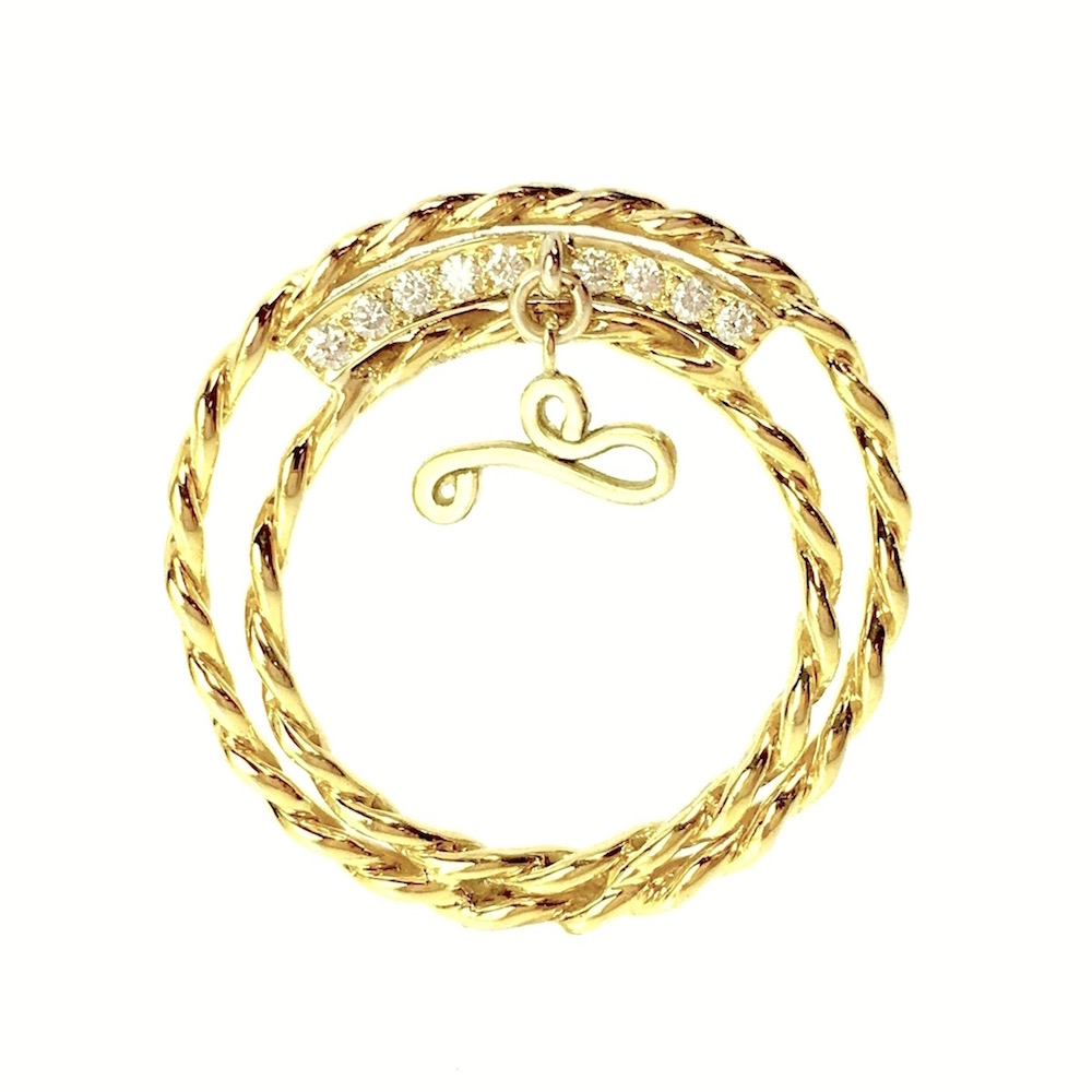 18k Yellow Gold Infinity Twist Double Shank Diamond Dangle Ring