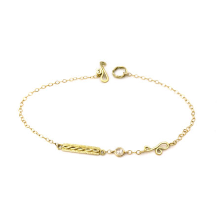 18k Gold Textured Bar Rose Cut Diamond Logo link Bracelet with Infinity Twist detail from Jewelyrie Adagio collection