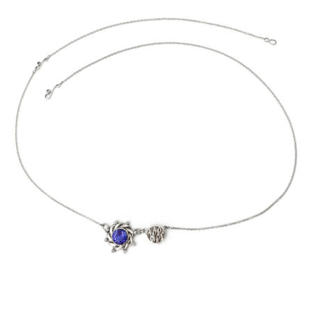 18k White Gold Diamond Tanzanite Drop Texture Disc Duet pendant Necklace