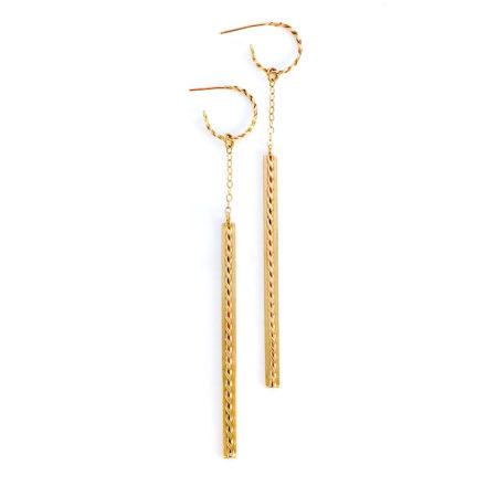 18k Gold Hoop Infinity Twist Long Stick Dangle Earrings