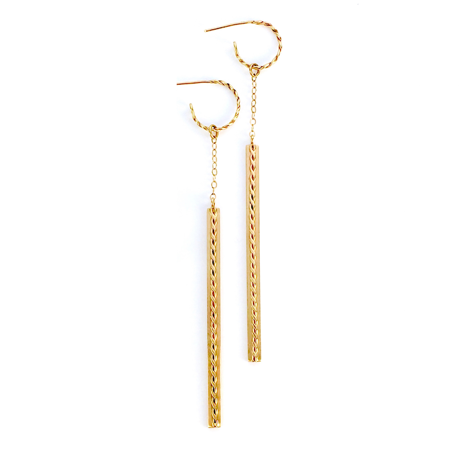 18k Gold Hoop Infinity Twist Long Stick Dangle Earrings
