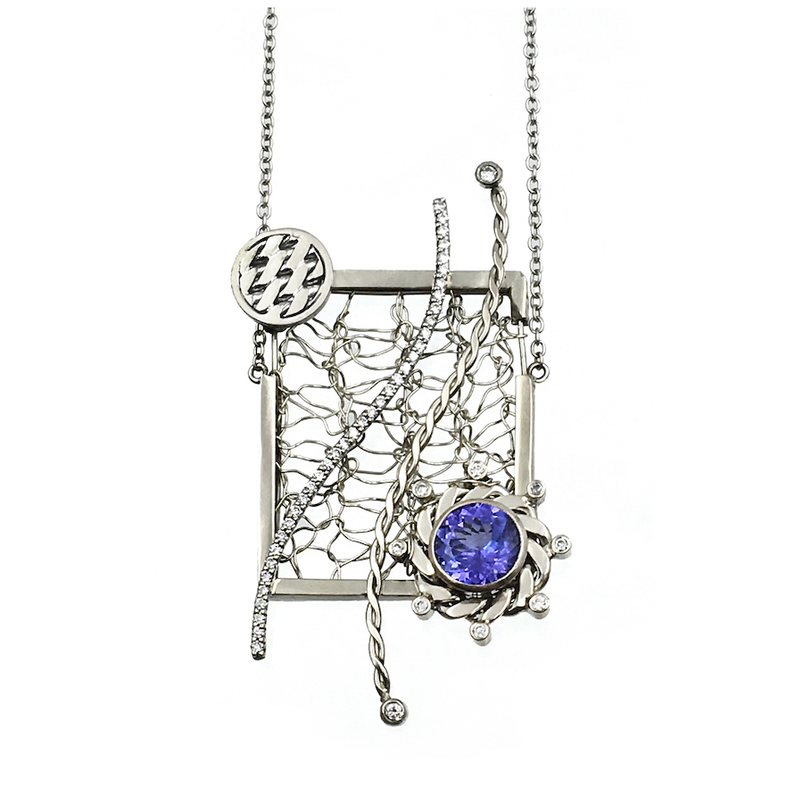Framed 18k White Gold Diamond Tanzanite Open Textured Pendant Necklace