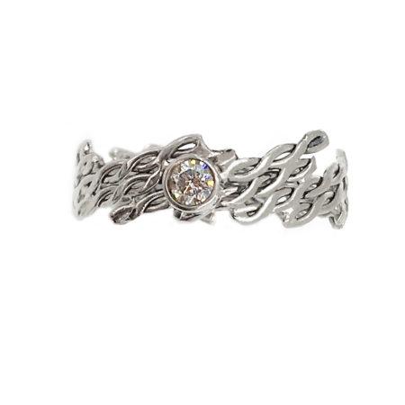 18k Gold Diagonal Infinity Twist Diamond Solitaire Alternative Engagement Ring