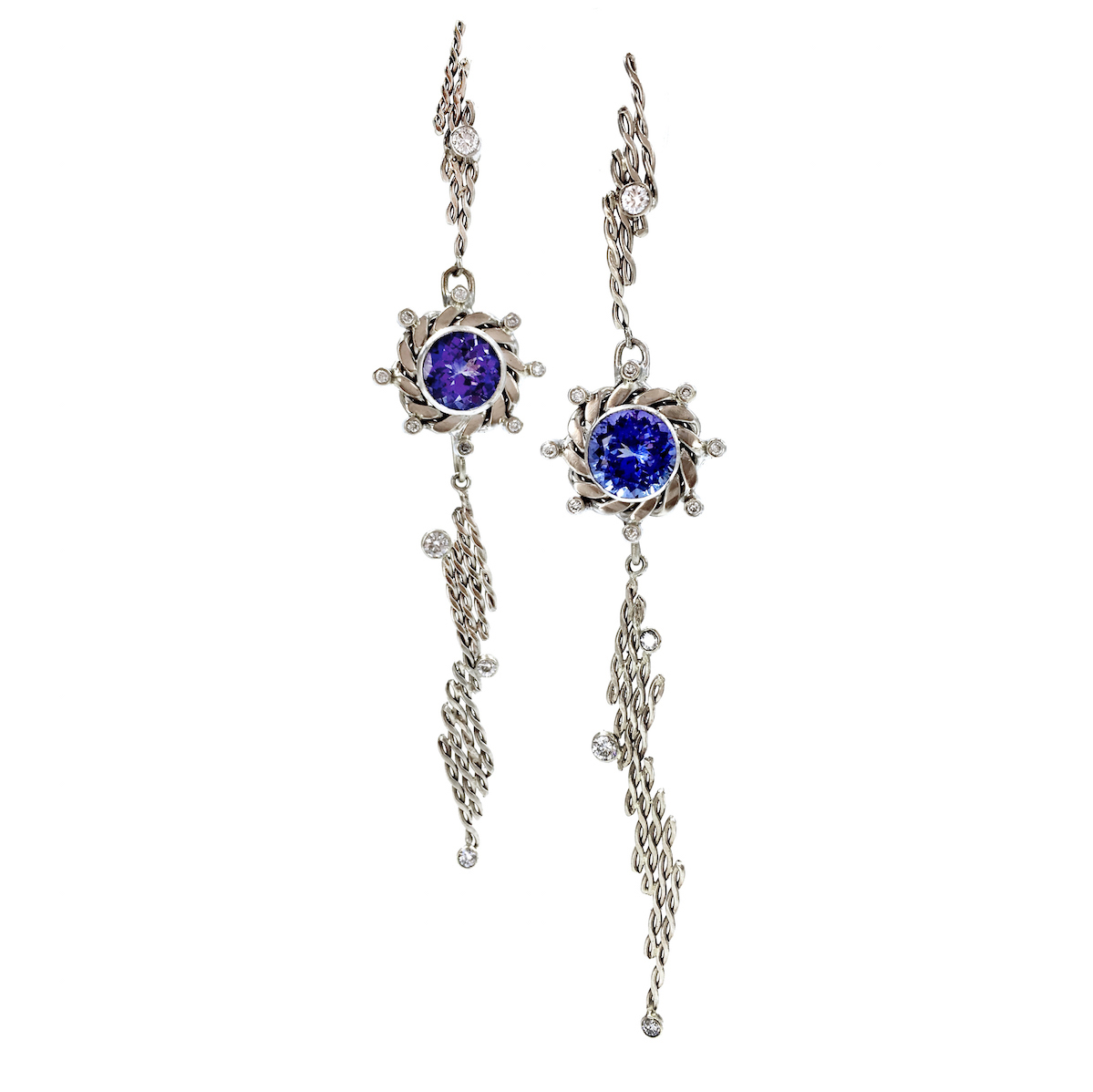 18k Diamond Tanzanite Infinity Twist diagonal Staggered Post Dangle Earrings