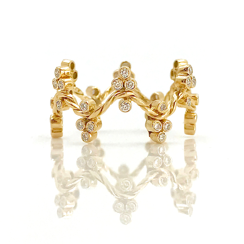 18K Gold Diamond Cluster Crest Wavy Stacking Fashion Ring