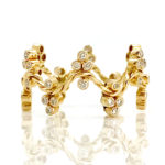 18K Gold Diamond Cluster Crest Wavy Stacking Fashion Ring GLIR-07
