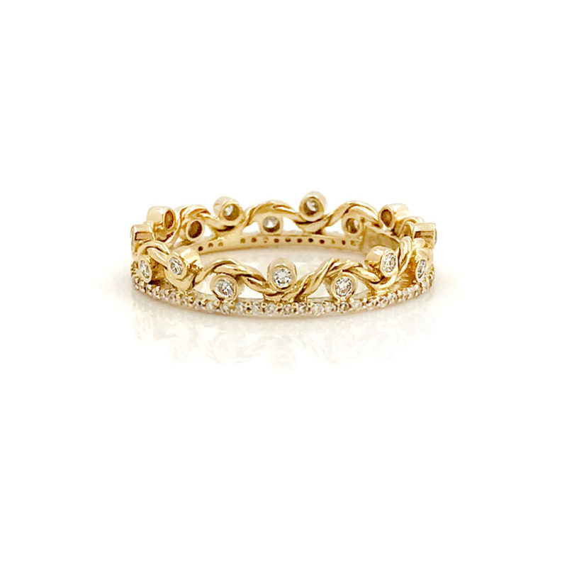 18K Gold Diamond Twist Wave Open Lace Crown Stacking Ring by Jewelyrie