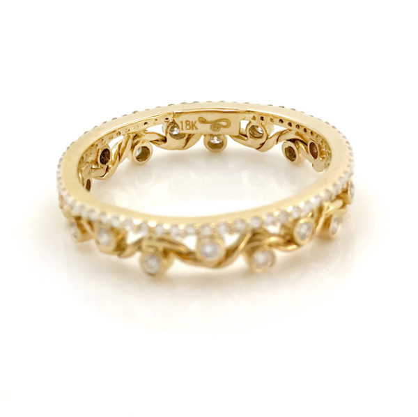 Slim Pave Diamond and 18K Gold Twist Wave Open Lace Crown Stacking Ring Cradling Bezeled Diamonds by Jewelyrie