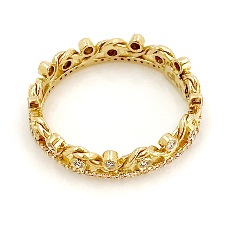 18K Gold Twist Wave Open Lace Crown and Diamond Wedding Ring GLIR-06