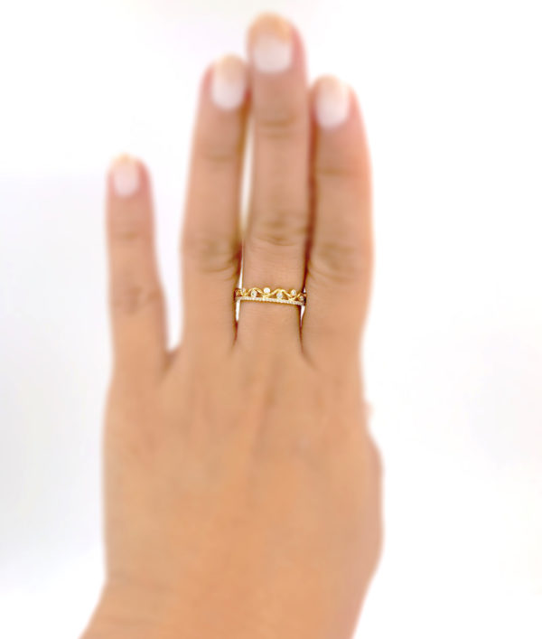 Pave diamond and 18K Gold Twist Wave Open Lace Crown Stacking Ring