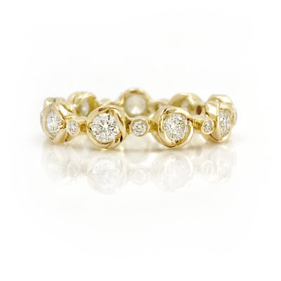 18K Gold Petal Cup Diamond Eternity band Stacking Ring