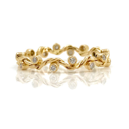 18K Gold Twist Wave Diamond Stacking Eternity Band Alternative bridal from Glissade Collection by Jewelyrie