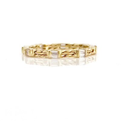 18k Gold Double Baguette Diamond Wedding Band
