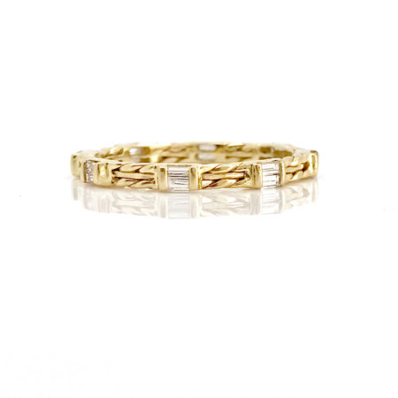 18k Gold Double Baguette Diamond Wedding Band