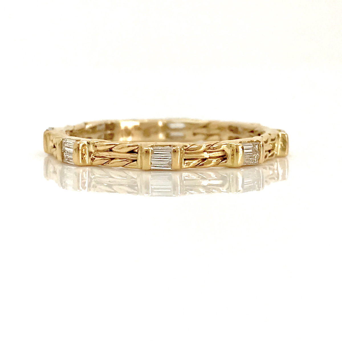 ring gold texture band rose hammered nodeform products diamond faceted skinny thin bands by dsc wedding