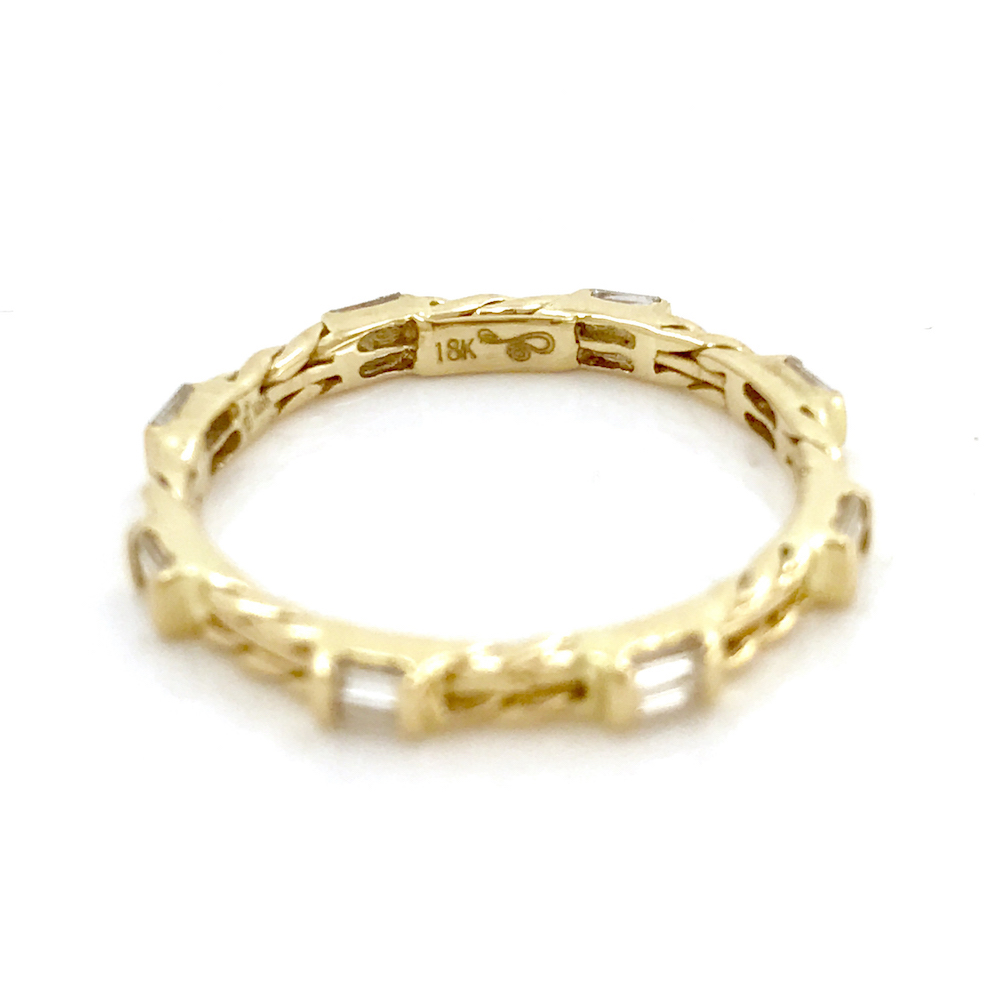18k gold baguette wedding band stacking ring