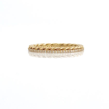 18k Gold Pirouette Twist Diamond Eternity Stacking Ring Guard GLIR-A