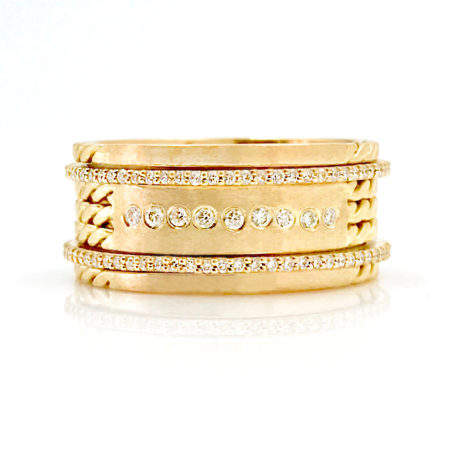 18k Gold Rolling Double Pave Diamond Belt Shield Cigar Band Jewelyrie Efface Collection EFCR-01