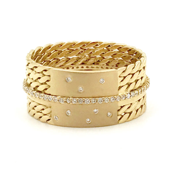 18k Twist Mesh Center Pave Diamond Belt Shield Cigar Band